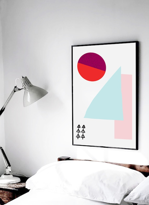 Meeting Point-03 // 18X24, Minimalist embroidered poster, mid-century inspiration, geometric shapes, orange, purple