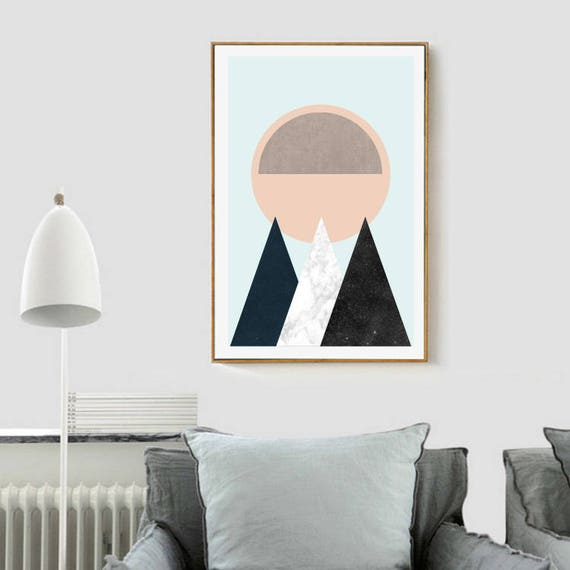 MOUNTAINS AND SUN // Affiche Mid Century, 24x36, art minimaliste, formes géométrique, montagne, couleurs pastels, abstract, art, Triangles
