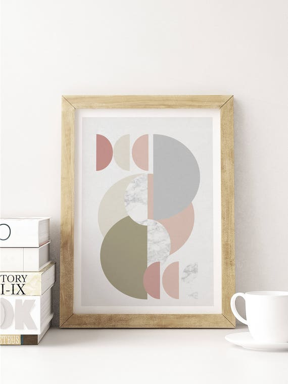 multi HAFT CERCLES // poster abstract, 12x18, minimalist art print, geometric print, mid century, Scandinavian style, pink, marble texture
