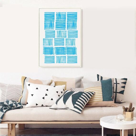 GRÈCE #006 // poster, Abstract art, 12x18, minimalist art print, geometric, mid century, Scandinavian style, blue, greece