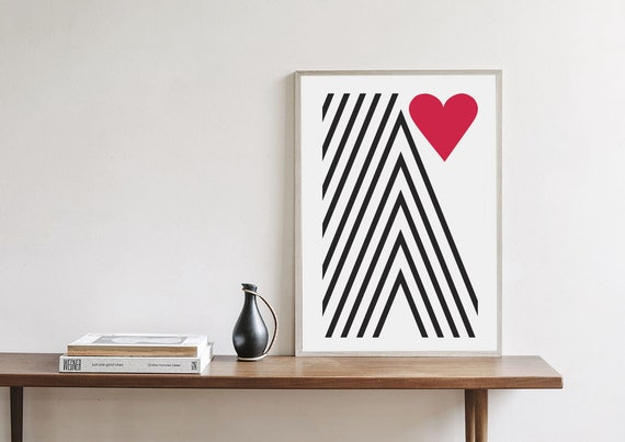 VALENTINE MOUNTAIN // Poster Abstract art, 12x18, minimalist art print, geometric print, mid century, Scandinavian style