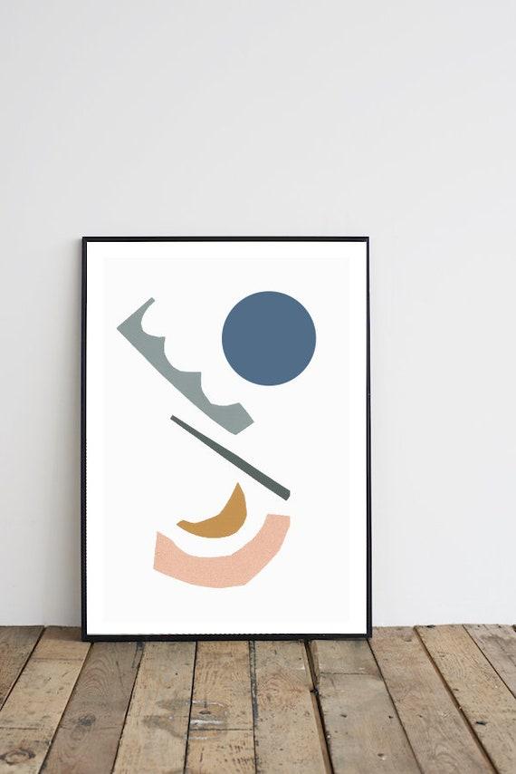 Experimentation // 18X24, Minimalist poster, mid-century inspiration, geometric shapes, blue