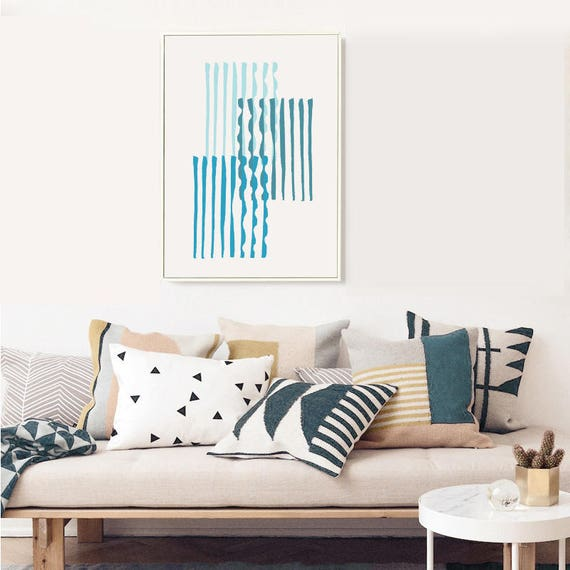 GRÈCE #002 // poster, Abstract art, 18x24, minimalist art print, geometric, mid century, Scandinavian style, blue, greece