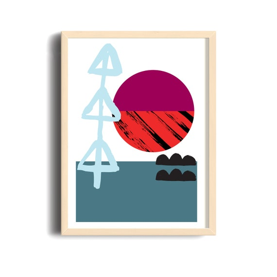 Meeting Point-04 // 18X24, Minimalist embroidered poster, mid-century inspiration, geometric shapes, orange, purple