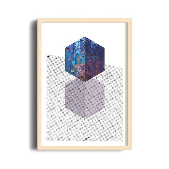 ROUGH DIAMONDS // poster, Abstract art, 12x18, minimalist art print, geometric, mid century, Scandinavian style, purple, diamond, 90s
