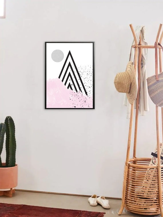 DOUX PRINTEMPS #2 // poster, Abstract art, 12x18, minimalist art print, geometric print, mid century, Scandinavian style, triangles