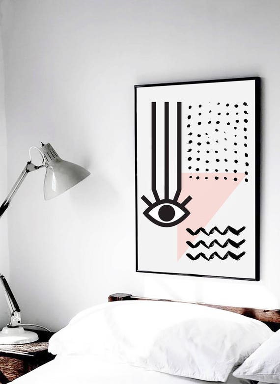 MAUVAIS OEIL 004 // Abstract art, 18x24, minimalist art print, geometric print, Scandinavian style, nordic design, pink, eye