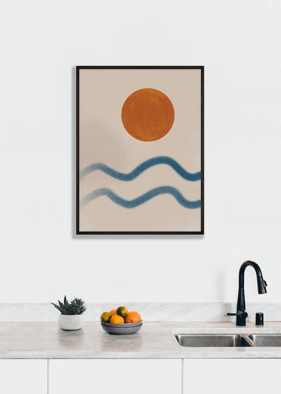 SUNSET at THE BEACH  // Mid Century Poster, 8x10, 12x16, 10X10, 16X16, 18x24, minimalist art print, landscape, art, sun, orange