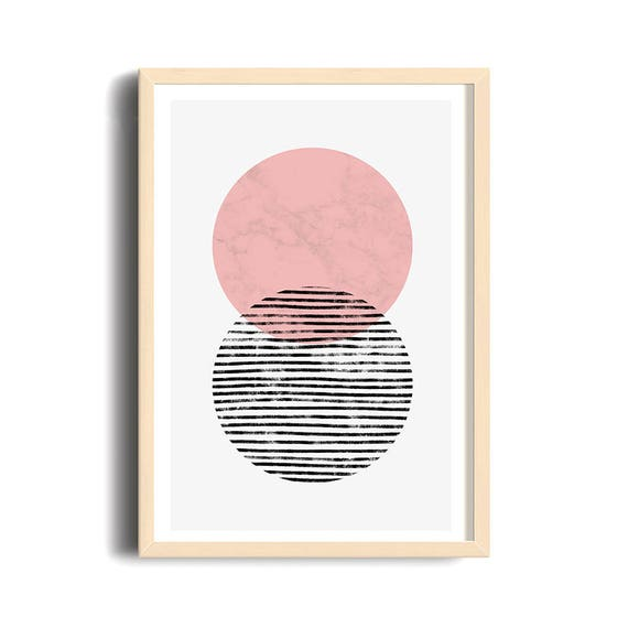 ART DUO // Poster, Abstract art, 12x18, minimalist art print, geometric print, mid century, Scandinavian style, cercle, pink
