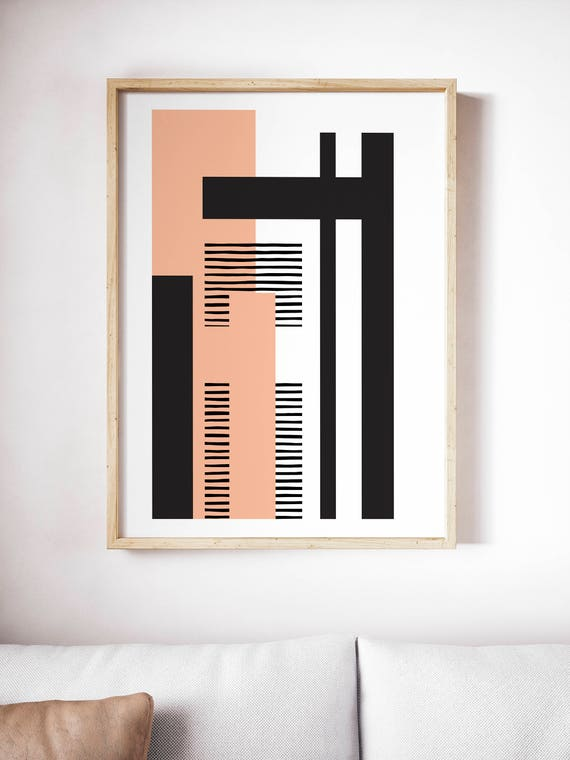 GEO LANDSCAPE pink // Poster Abstract art, 18x24, minimalist art, geometric print, scandinavian style, Nordic design, black and white