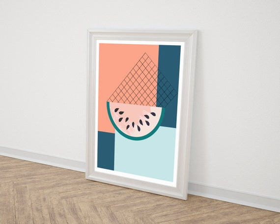 MELON //  Poster, Abstract art, 12x18, minimalist art print, geometric print, abstract, Scandinavian style, nordic design, pink, blue, 90s