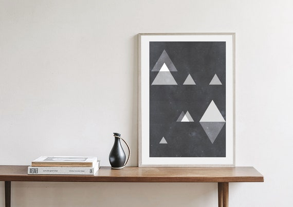 TRIANGLES ODYSSEY // Poster Abstract art, 18x24, minimalist art, geometric print, scandinavian style, Nordic design, black and white