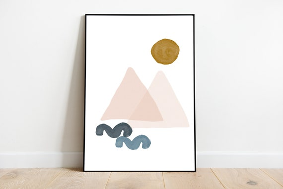 MOUNTAINS AND SUN // Mid Century Poster 10x10 minimalist art print, Pastel colors, abstract, art, circle, pink