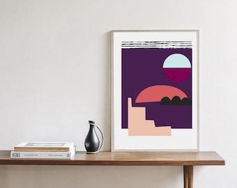 Mid Century Modern poster, 18x24, abstract art, scandinavian, purple
