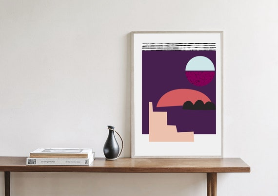 Mid Century Modern poster, 18x24, abstract art, scandinavian, purple