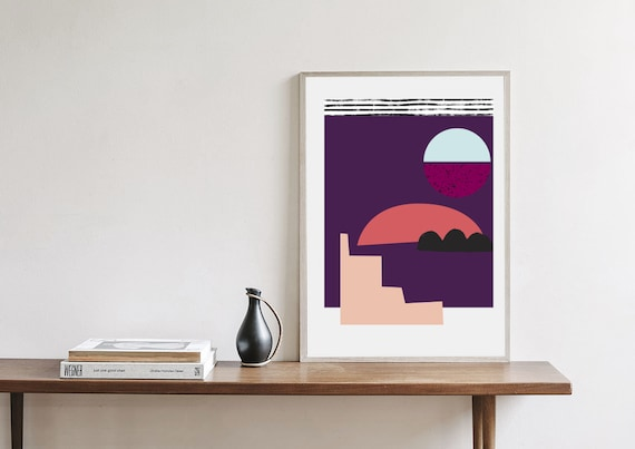 ABÉRATION #01 // Mid Century Modern poster, 24x36 abstract art, scandinavian, purple