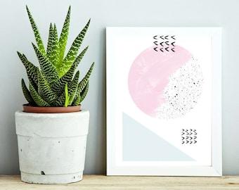 DOUX PRINTEMPS #4/ Abstract art, 12x18, minimalist art print Monstera leaf, Scandinavian style, nordic design, pink