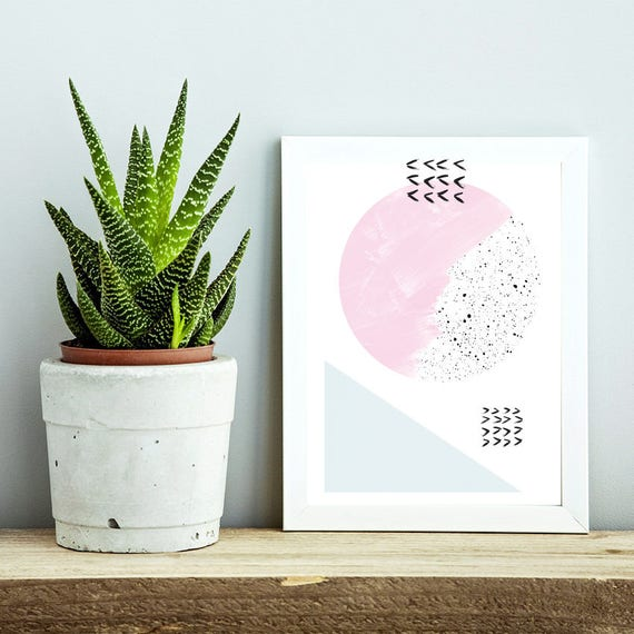 DOUX PRINTEMPS #4/ Abstract art, 12x18, minimalist art print Monstera leaf, Scandinavian style, nordic design, pink