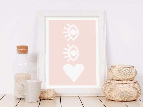 LOVE serie // Abstract art, 12x18, minimalist art print, geometric print, Scandinavian style, nordic design, pink, eye, heart