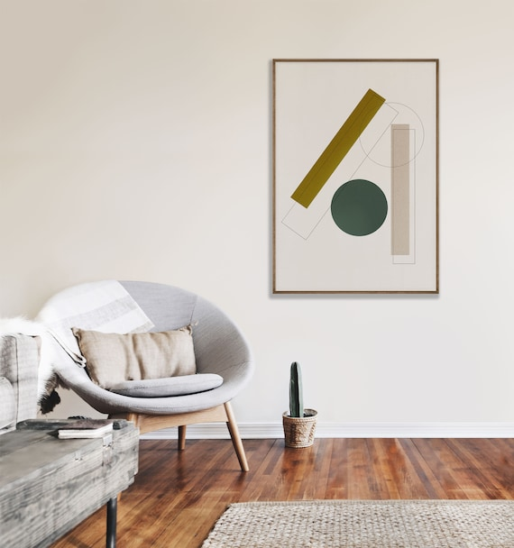 GEO SHAPES #01 //  abstract poster, 16x20, 18x24, minimalist art print, Pastel colors, abstract, art, mid century