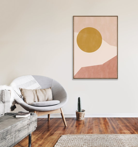 SUNRISE //  Mid Century Poster, 8x10, 16x20, 18x24, minimalist art print, Pastel colors, abstract, art, pink