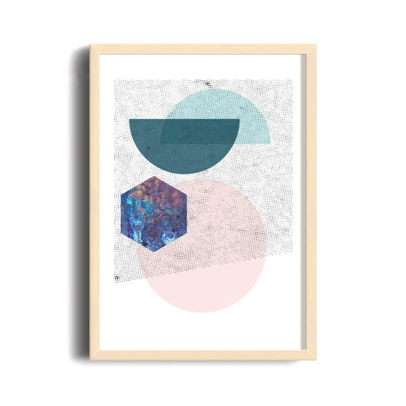 90s Superposition // Mid Century Poster, 18x24, minimalist art print, geometric print, blue and pink, abstract