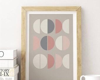 LA VIE en ROSE // Poster, Abstract art, 12X18, minimalist art print, geometric print, abstract, Scandinavian style, nordic design, pink