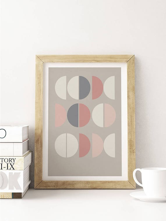 LA VIE en ROSE // Poster, Abstract art, 12X18, minimalist art print, geometric print, abstract, Scandinavian style, nordic design, pink