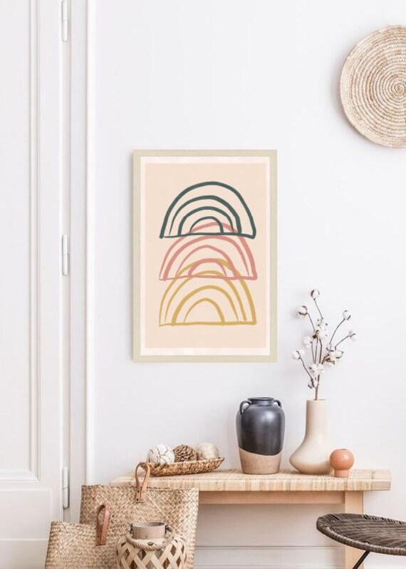 triple RAINBOW // Mid Century Poster,  8X10, art geometrique , abstrait