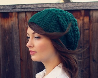 Chunky Slouchy Beanie. Green Knit Slouchy Hat. Knit Beanie. Winter Knit Accessories. Christmas Gift. Winter Knit Beanie. Hat for Women.