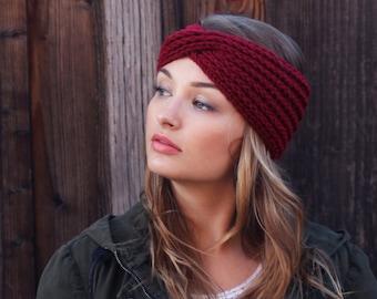 Handmade Knit Headband. Crimson Red Knit Headband. Boho Knit Turband. Knit  Accessories Headbands. Fall Accessories. Christmas Gift.