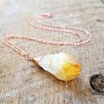 Citrine Necklace, Copper Jewelry, Bohemian Jewelry, Healing Stone Jewelry, Citrine Necklace, November Birthstone, bailybelle