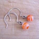 Orange Onyx Argentium Silver Earrings