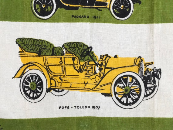 Old Fashion Cars >> Vintage Tammis Keefe Tea Towel Old Fashioned Cars Wall Hanging Boy S Bedroom