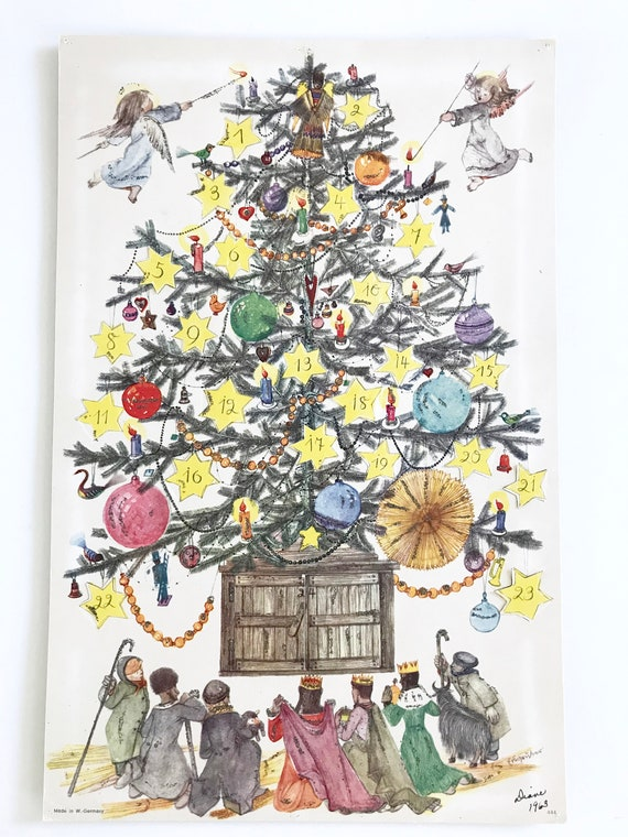 Vintage Christmas Tree Advent Calendar Made in West Germany Glitter Window Flaps