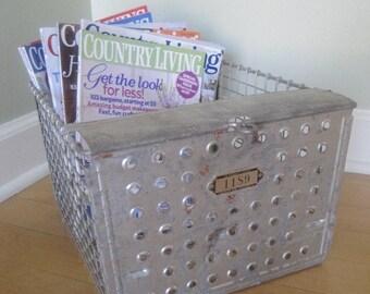 LARGE Vintage Wire Gym Locker Basket - Urban Cool or Shabby Chic