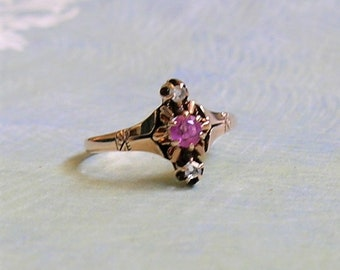 05c338e6b Antique Victorian 12K Rose Gold Ruby and Diamond Ring, Old Victorian Ring  With Ruby and Diamonds (#3586)