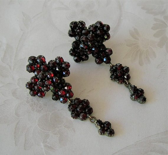 Antique Bohemian Garnet Victorian Earrings, Chand… - image 8