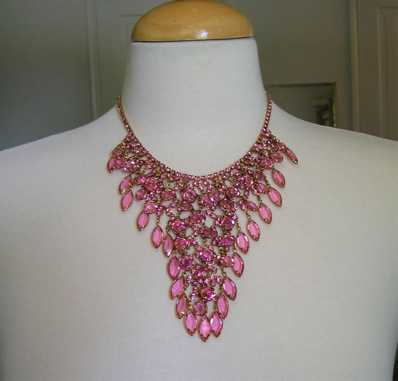 Vintage Juliana Rhinestone Bib Necklace and Matching Earrings Vintage 1960/'s Juliana Waterfall Necklace #3237 Statement Necklace