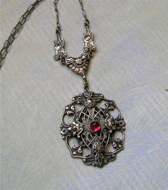 Antique Edwardian Sterling Marcasite Necklace, Ant