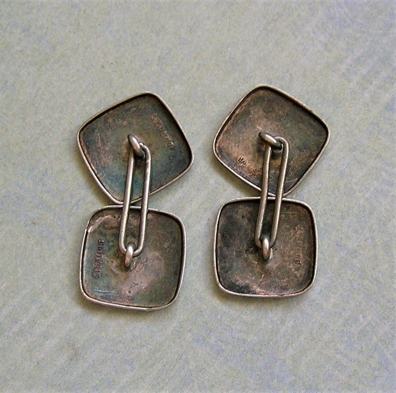 Antique Art Deco Sterling Hammered Cuff Links Old Cuff Links #3732 Men/'s Cuff Links Old Sterling Cufflinks