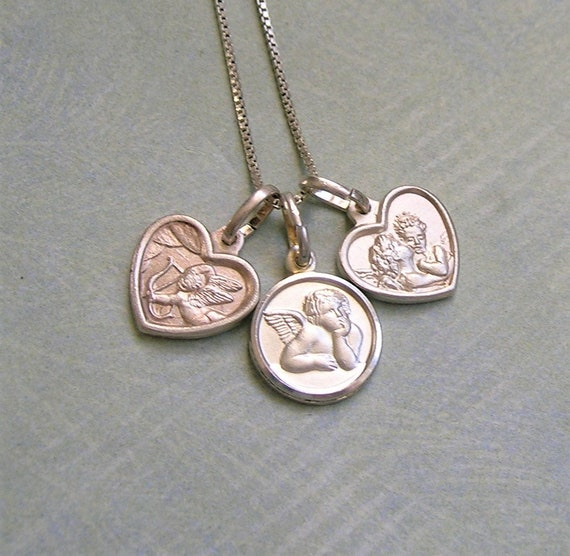 Vintage Sterling Italian Cherub Charm Necklace, Vi
