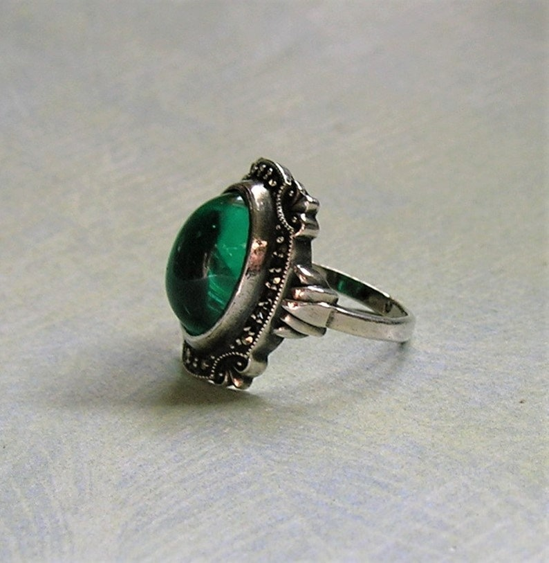 Green Glass and Marcasite Ring Art Deco Ring #3808 1930s Size 6 Art Deco Cocktail Ring Vintage Art Deco Sterling Silver
