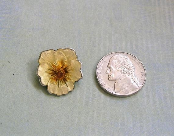 Vintage Sterling Enamel Pansy Pin Brooch, Sterlin… - image 5