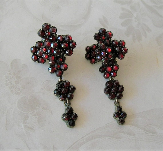 Antique Bohemian Garnet Victorian Earrings, Chande