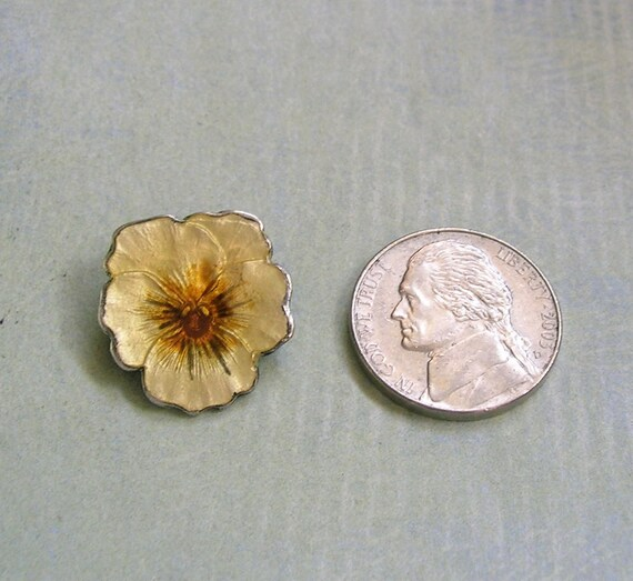 Vintage Sterling Enamel Pansy Pin Brooch, Sterlin… - image 3
