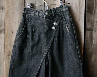 6677eee6f70 High Waist Flap Rocky Mountain Jeans Black US Made Denim With Buffalo Coin  Buttons 70s to 80s Vintage
