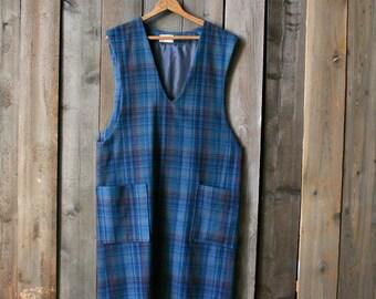 Wool 1960s Dress Jumper Handmade Blue Vintage