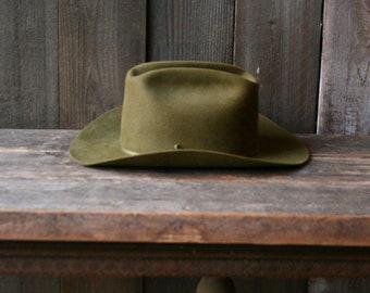 Womens Western Hat Vintage Army Green Felted Fur Hat Bohemian Fashion 1970s 359b9ccaad5b
