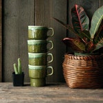Stacking Mugs Set Japanese Mid Century Modern 4 Green Vintage Cups From Nowvintage on Etsy
